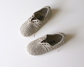 Lace Up Slippers - Unisex crochet slippers in Fawn