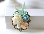 Bird Brooch, Mint Pink Blue Ivory Flower Brooch. Bridal Sash Brooch, Wedding Bouquet Accessory, Vintage Style Floral Collage Brooch