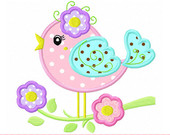 Spring flower bird Applique -4x4 5x7 6x10-Machine Embroidery Applique Design