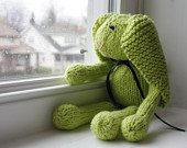 Hand Knit Bunny Rabbit Lime Green Cotton Stuffed Toy