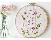 Ribbon Embroidery hoop wall art - Pink Rose Garden Spring