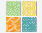 Geometric Prints - Wall Art Quad - Geometric Shapes on Apple green, Turquoise, Gold, or Orange -  8 x 8 prints - Room decor