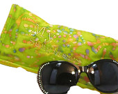 Sunglasses Case. Personalized Eye Glass Case. Green And Yellow Eyeglass case