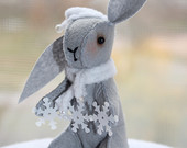 Felt Little rabbit April finds Easter bunny spring gift ideas miniature snowflakes felt decoration gray for the home for her