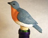 Handmade Wood Decorative Bluebird Unique Bottle Stopper Gift Art Sculpture Carving by Claude's Woodcarving