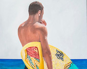 "Beach Scene,""Surfer Dude"",36X20,Waves,Sand,Shoreline,Sunshine,Water,yellow,innocent ,fine art,young girl,oil painting,swimsuit,Jim Gordon"