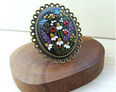 Floral Ring Large Ring Black Ring Colorful Floral Ring Spring Flower Ring Statement Ring Fashion Ring Flower Clay Ring