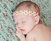Baby Flower Halo, Ivory Baby Headband, Ivory and Gold, Flower Head Wreath, Woodland Fairy Headband, Spring Flowers Baby Halo, Christening