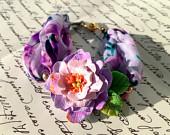 Blue Peony Bracelet, Blue Textile Bracelet, Blue Flower Bracelet, Spring Flower Jewerly, Vintage Flower Bracelet