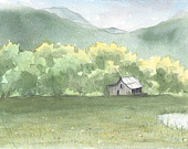 Spring Landscape Painting- One of the Four Seasons in the Mountains- 5 x 7 Archival Art Print by Laura D. Poss