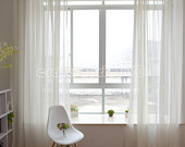 "2 x Custom Made French Country Provincial Simple Modern White Sheer  Curtain Panel Q011 59""wide x 84""drop"