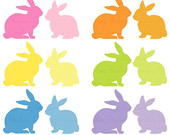Easter bunny clip art,  rabbit clipart, bunny silhouette clipart,  digital scrapbook supplies, spring clipart,  DIGITAL DOWNLOAD CA 127