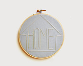 "HOME  - Gray-Blue and Cream 5"" Embroidery Hoop"