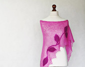 Pink shawl, hand knit shawl, triangular shawl, shawl wrap, felted shawl, mohair shawl, felt appliques, flower felted, modern clothing