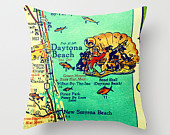 Daytona Beach Map Pillow | Retro Florida   | Decorative Throw Pillow Cover | Way Cool  Map Photograph |  Map Print Pillow