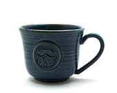 Dad Mustache Mug, Blue Moustache Mug for Fathers, Unique Handmade Pottery Gift for Men by MiriHardyPottery