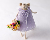 Knitted Rat with Flower Basket-Shabby Chic Home Decoration-Art Doll-Summer-Bridesmaid-Flower Girl-Soft Toy-Pastel Lilac Dress-Polkadots-UK