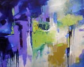 "LARGE BLUE ABSTRACT  Modern Expressionistic Painting ""Wed"" Acrylic  36"" x 48"" canvas by Elizabeth Chapman"