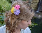 Silk Flower Hair Clip ; Spring Flower Hair Clip ; Girl Hair Accessory ; Clip On Hair Accessory