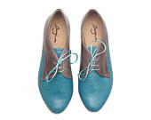 Free Shipping, Turquoise Leather Shoes, Turquoise Shoes, Turquoise Oxford Shoes, Close Shoes, Flat Shoes