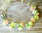 Spring flower crown, Pink and yellow flower crown, Flower Bridal Crown, Boho flower head piece, Romantic flowerr crown, Romantic, Fairy