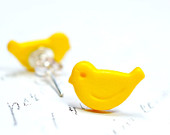Tiny Yellow Bird Earrings / Bright Yellow Canary Studs, Small Birdie Post Earrings, Fun and Affordable Animal Jewelry