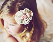 Girls Hair Clip, Bow, Fall Flower accessory, neutral hair clip, nude, toddler hair bow, boho, nature inspired, flower girl hair clip, spring