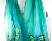 "Hand painted silk scarf. Butterfly Silk Scarf. Turquoise green silk chiffon. Handmade silk scarf. 10"" x 58"" Free gift wrapping. handpainted"