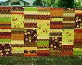 Large Twin Size Quilt Large Floral Fall Colored Bohemian Twin Size Quilt Brown Orange Purple Yellow Fall Colors Flowers Twin Blanket Quilt