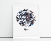 April birthstone diamond print. Ideal gift idea for April birthday, cool and crisp wall art. Living room decor gemstone print.