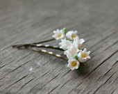 Set of 3 clay flowers pins with handmade white Lily of the Valley women hair accessories wedding pins