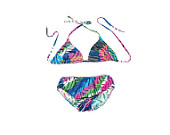 60s Psychedelic Bikini Neon Abstract Print Swimsuit Gogo Halter Triangle Top (M)