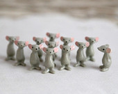 Miniature Plastic Mice gray vintage 1970s one dozen