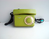 Vintage green rotary telephone, Soviet USSR working dial table telephone 1980s