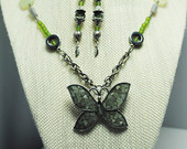Butterfly necklace; butterfly necklace earring set; green necklace; green butterfly necklace; repurposed jewelry; boho butterfly necklace