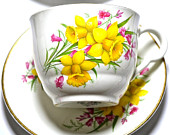 Vintage Yellow Daffodil Tea Cup  Plate Trio - Maddock Staffordshire China Teacup Spring Flowers  - Easter Gift