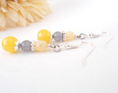 Sunshine Yellow Earrings, Yellow Gray Earrings, Bridal, Lemon Yellow, Light Gray Earrings, Spring Yellow Earring, Czech Glass Beaded Earring