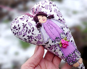 Lilac angel heart - Home Decor - Gift Fabric Ornament - Textile Heart