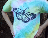 Butterfly Shirt Girl- Butterfly Tshirt- Pastel Butterfly- Girls Butterfly Birthday Gift- Pastel Girls Shirt- Tie Dye Girls, Kids Small (6-8)