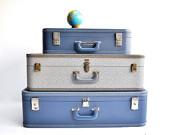 Extra Large Mid-Century Blue Suitcase