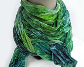 "Velvet scarf - crinkle scarf - silk blend velvet - winter scarf - hand dyed - green, emerald green, lime green, blue - jewel tone - 14""x72"""