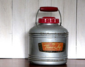 Red Wood Handled Silver Therm-A-Jug Knapp Monarch Gallon Insulated Metal Hot Cold Camping Picnics Parties Coffee Carrier