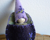 Easter Gnome in Floral Egg Pouch, Spring gift, Waldorf gnome, Waldorf Toy, Upcycled Eco toy, Spring flower, lavender, purple, green