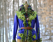 Wool SWEATER Jacket with felted acorns and leaves. Earthy tattered woodland fantasy. Size Large. Ready to ship