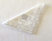 Vintage White Grey Basket Hankie Handkerchief Embroidery