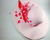 "Beautiful Pink Straw Hat 4.5""inch Brim To Fit All."