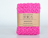 Crochet Washcloth - handmade washcloth, hot pink washcloth, crochet wash cloth, natural washcloth