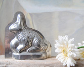 Tin Rabbit Chocolate Mold, Rustic Primitive Chocolate Rabbit Mold, Antique Chocolate Mold, Easter Bunny