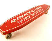 Vintage Rinky Dink Surf Board Skateboard in Red, Wood Skateboard with Steel Wheels (c.1950s) - Collectible, Unique Shelf, Toy Collectible