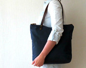 Waxed Canvas Bag Zip Tote Bag Navy Blue, Leather handles, Large Canvas Tote, Carryall Many Pockets, Shoulder Bag, Everyday Bag, Unisex Bag